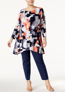 Alfani Plus Size Printed Swing Tunic, Only at Macy's