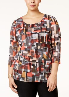 Alfani Plus Size Printed Tiered Mesh Top, Only at Macy's