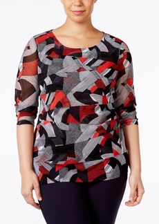 Alfani Plus Size Printed Tiered-Mesh Top, Only at Macy's