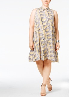 Alfani Plus Size Printed Trapeze Shirtdress, Only at Macy's