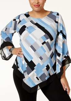 Alfani Plus Size Printed V-Hem Top, Only at Macy's