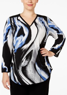 Alfani Plus Size Printed V-Neck Top, Only at Macy's