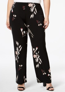 Alfani Plus Size Printed Wide-Leg Knit Pants, Created for Macy's