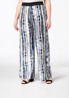 Alfani Plus Size Printed Wide-Leg Pants, Created for Macy's