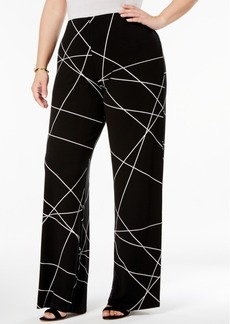 Alfani Plus Size Printed Knit Wide-Leg Pants, Created for Macy's