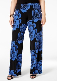 Alfani Plus Size Printed Wide-Leg Soft Pants, Only at Macy's