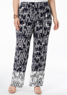 Alfani Plus Size Pull-On Printed Pants, Created for Macy's
