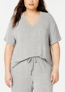Alfani Plus Size Ribbed Knit Pajama Top, Created for Macy's