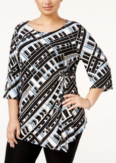 Alfani Plus Size Ruched Asymmetrical Top, Only at Macy's