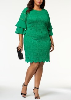 Alfani Plus Size Ruffle-Cuff Floral-Lace Dress, Created for Macy's