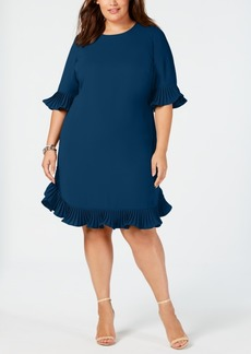 Alfani Plus Size Pleated Flounce Dress, Created for Macy's