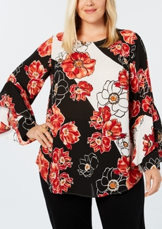 Alfani Plus Size Ruffled-Sleeve Printed Blouse, Created for Macy's