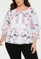 Alfani Plus Size Ruffled-Sleeve Top, Created for Macy's