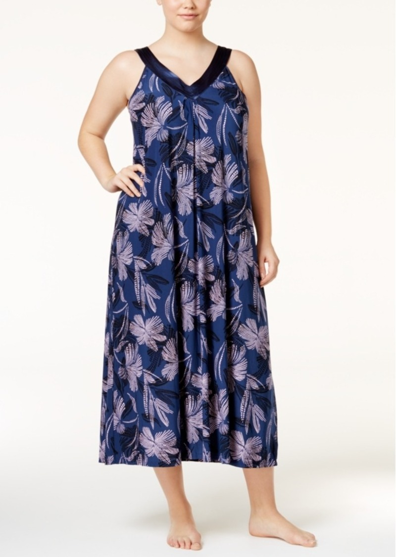 Alfani Plus Size Satin-Trimmed V-Neck Printed Nightgown, Only at Macy's