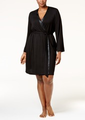 Alfani Plus Size Satin-Trimmed Wrap Robe, Created for Macy's