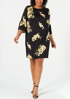 Alfani Plus Size Scuba Bell-Sleeve Dress, Created for Macy's