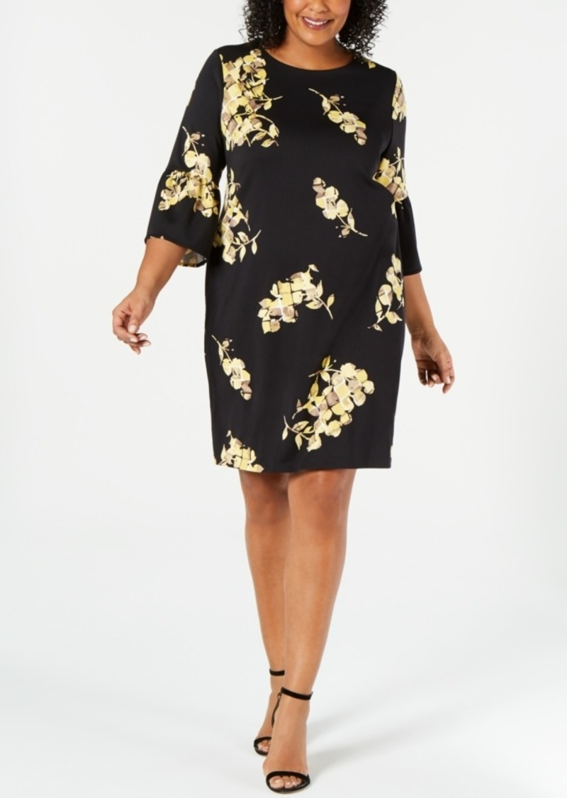 Plus Size Scuba Bell-Sleeve Dress, Created for Macy\'s
