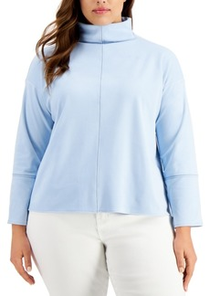 Alfani Plus Size Seamed Mock-Neck Top, Created for Macy's