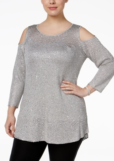 Alfani Plus Size Sequined Cold-Shoulder Sweater, Only at Macy's