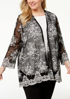 Alfani Plus Size Sheer Lace Kimono, Created for Macy's