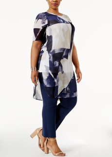 Alfani Plus Size Sheer Printed Tunic, Only at Macy's