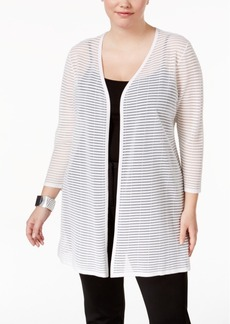 Alfani Plus Size Sheer-Stripe Duster Cardigan, Only at Macy's