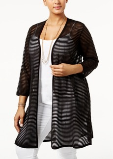 Alfani Plus Size Sheer-Stripe Open-Front Cardigan, Only at Macy's