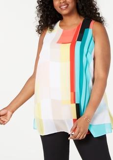 Alfani Plus Size Sleeveless Colorblocked Tunic, Created for Macy's