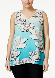 Alfani Plus Size Sleeveless Floral-Print Shell, Only at Macy's