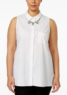 Alfani Plus Size Sleeveless Swing Shirt, Only at Macy's