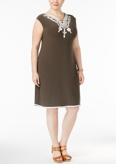 Alfani Plus Size Soutache-Trim Knit Dress, Only at Macy's