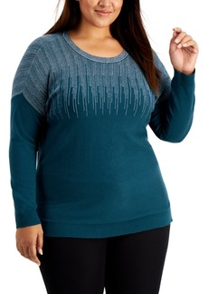 Alfani Plus Size Sparkle Shoulder Sweater, Created for Macy's