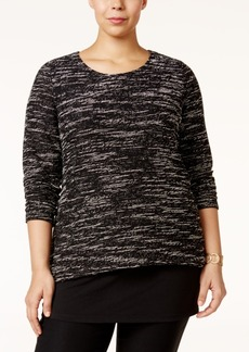 Alfani Plus Size Split-Back Popover Sweater, Only at Macy's