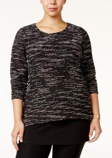 Alfani Plus Size Split-Back Popover Sweater, Only at Macy's