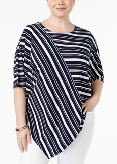 Alfani Plus Size Striped Asymmetrical-Hem Top, Only at Macy's