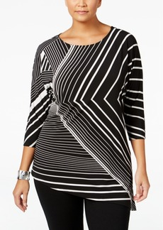 Alfani Plus Size Striped Asymmetrical Top, Only at Macy's