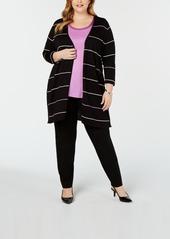 Alfani Plus Size Striped Cardigan, Created for Macy's