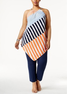 Alfani Plus Size Striped Halter Tunic, Only at Macy's