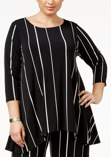 Alfani Plus Size Striped High-Low Top, Only at Macy's