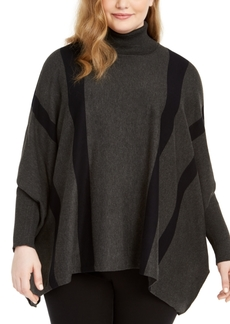 Alfani Plus Size Striped Poncho Sweater, Created for Macy's