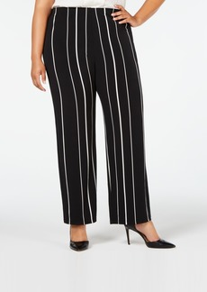 Alfani Plus Size Striped Pull-On Pants, Created for Macy's