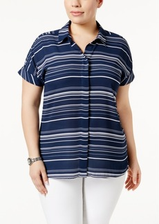 Alfani Plus Size Striped Shirt, Only at Macy's