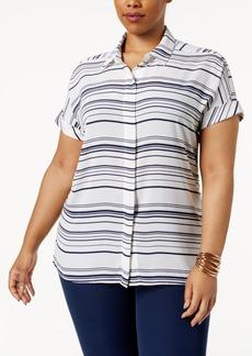 Alfani Plus Size Striped Shirt, Only at Macy's