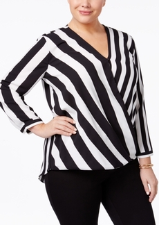 Alfani Plus Size Striped Surplice Top, Only at Macy's