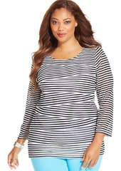 Alfani Plus Size Striped Tiered Top