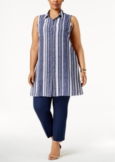 Alfani Plus Size Striped Tunic, Only at Macy's