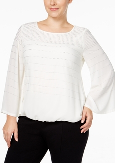 Alfani Plus Size Studded Blouson Top, Only at Macy's
