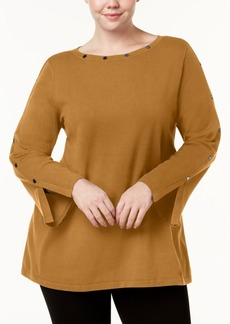 Alfani Plus Size Studded Split-Cuff Sweater, Created for Macy's