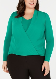 Alfani Plus Size Surplice Blouse, Created for Macy's