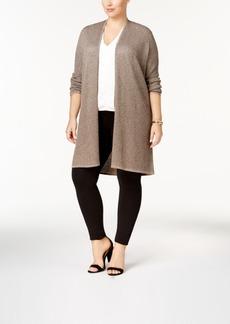 Alfani Plus Size Textured Metallic Cardigan, Created for Macy's